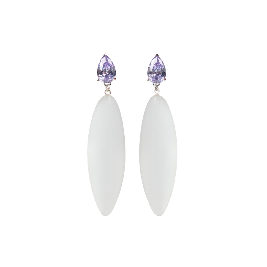 transparent rubber, large earrings , drop shaped purple stone, white background.