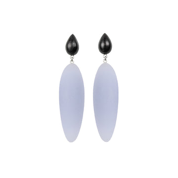 light purple rubber, large earrings , tear shaped rosewood, white background.