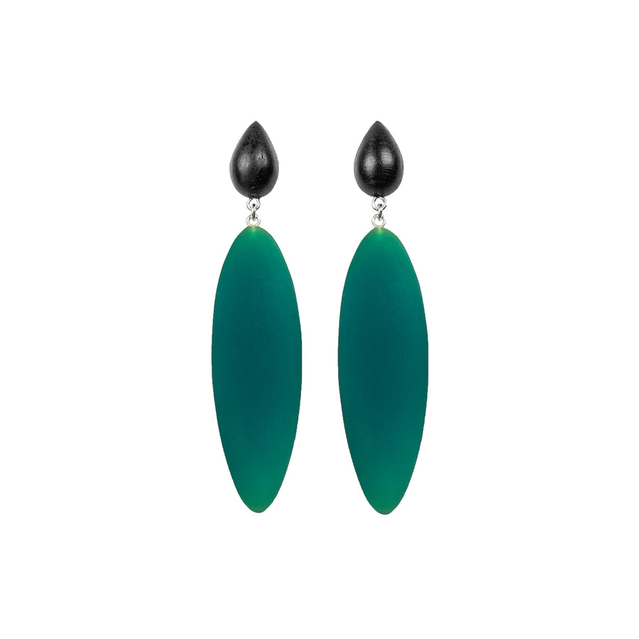 green rubber, large earrings , tear shaped rosewood, white background.