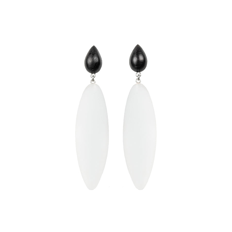 transparent rubber, large earrings , drop shaped rosewood, white background.