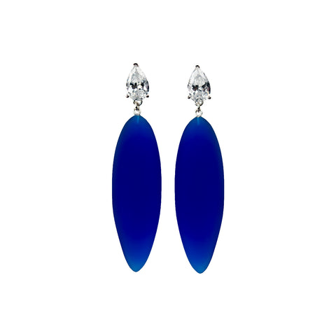 Nymphe earrings with white stone and blue rubber
