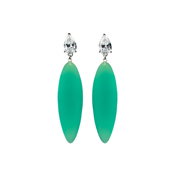 light green rubber, large earrings , tear shaped white stone, white background.