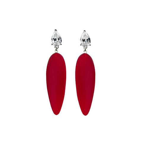 Nymphe earrings with white stone and red rubber