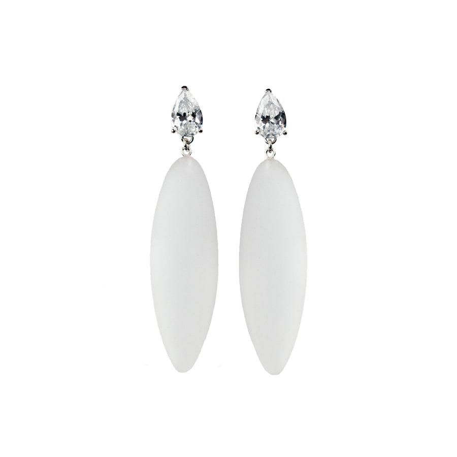 transparent rubber, large earrings , drop shaped white stone, white background.