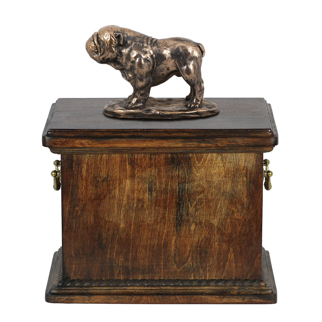 Solid Wood Casket Bulldog  Urn for Dog's ashes,with Dog statue.(18) - unique.urns_caskets