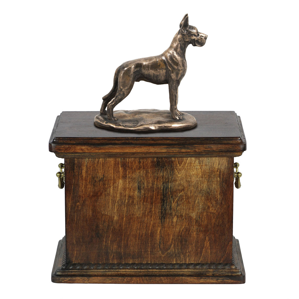 Solid Wood Casket  Great Dane Cropped Dog Urn for Dog's ashes,with Dog statue.(33) - unique.urns_caskets