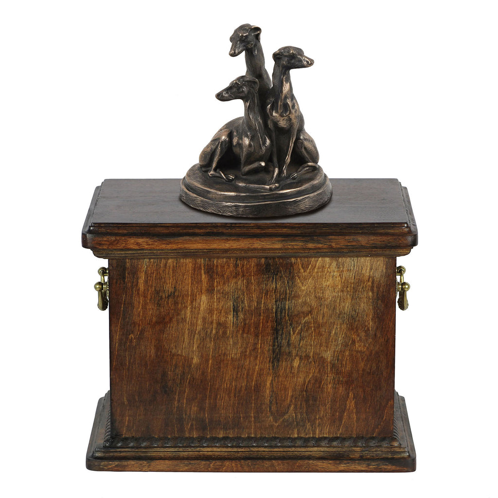 Solid Wood Casket Staffordshire  Whippets Memorial Urn for Dog's ashes,with Dog statue (60) - unique.urns_caskets