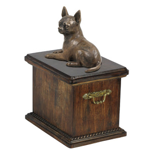 Solid Wood Casket Chihuahua Memorial Urn for Dog's ashes,with Dog statue.(57) - unique.urns_caskets