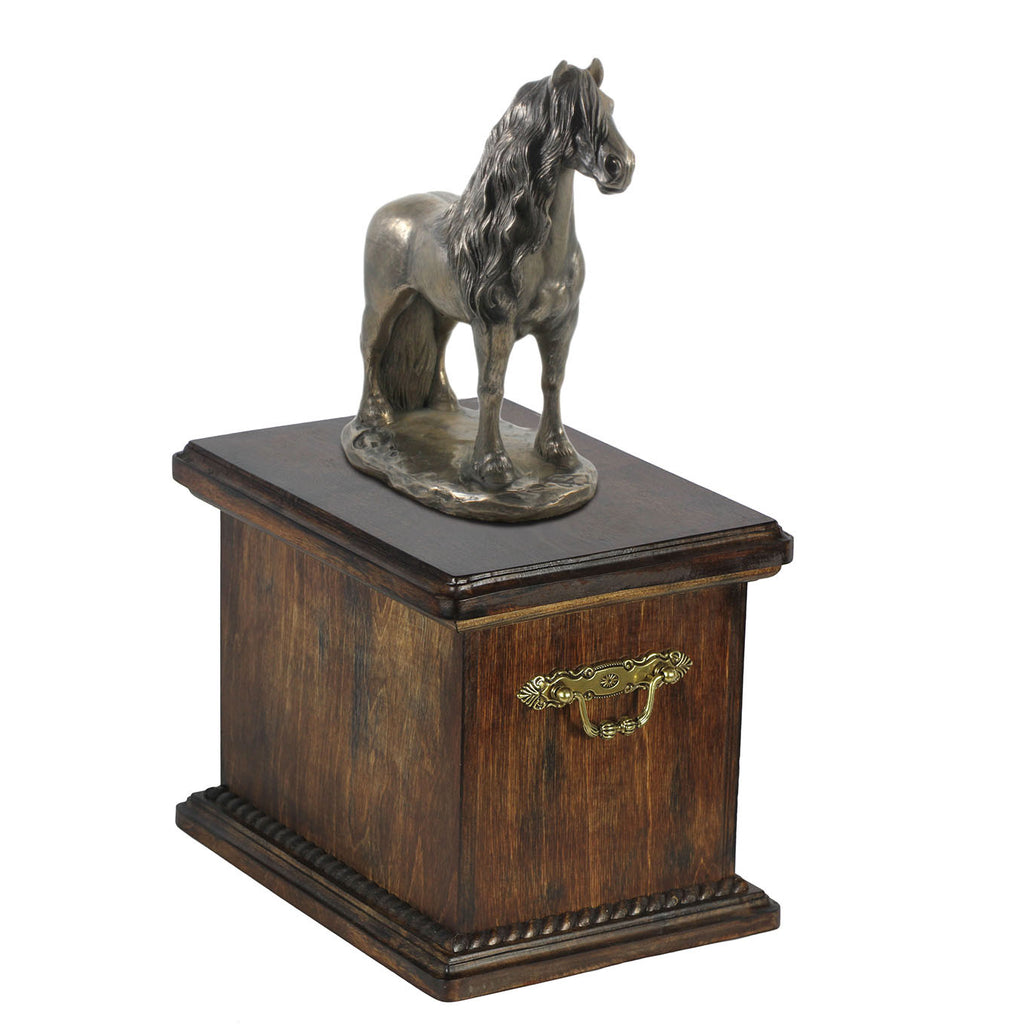Beautiful solid wood casket with Bronze Statue - Friesian stallion Horse cremation casket for Horse ashes (7) - unique.urns_caskets