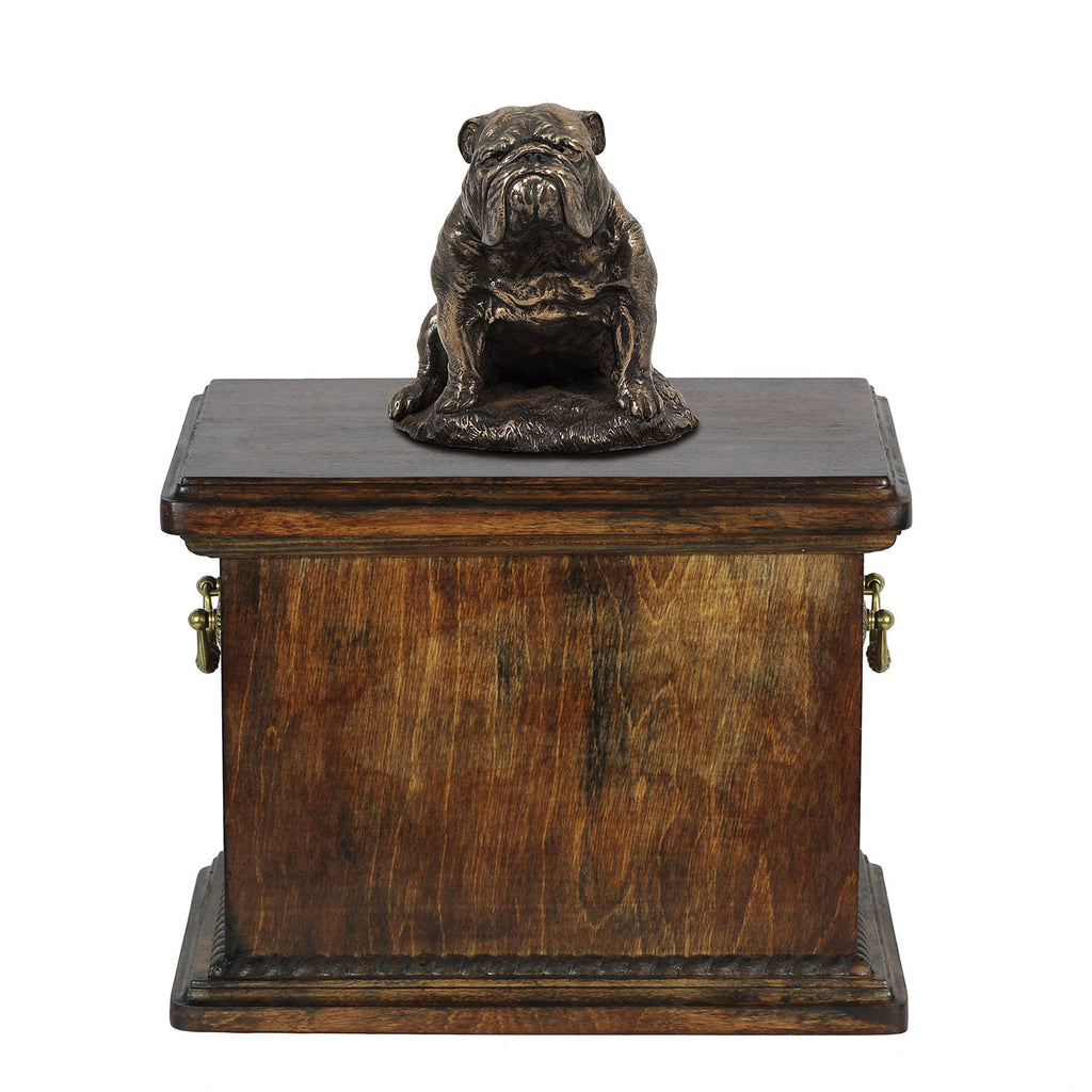 Solid Wood Casket Bulldog Sitting Urn for Dog's ashes,with Dog statue.(20) - unique.urns_caskets