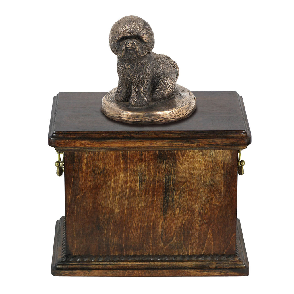 Solid Wood Casket Bichon   Memorial Urn for Dog's ashes,with Dog statue.(5) - unique.urns_caskets