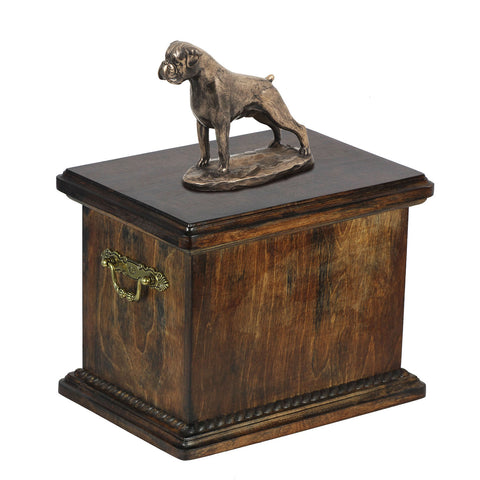 Solid Wood Casket Boxer Uncropped  Urn for Dog's ashes,with Dog statue. (12) - unique.urns_caskets