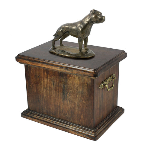 Solid Wood Casket  English Staffordshire Bull Terrier Urn for Dog's ashes,with Dog statue.(27) - unique.urns_caskets