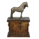 Beautiful solid wood casket with Bronze Statue - Fresian Horse Mare cremation casket for Horse ashes (11) - unique.urns_caskets - 1