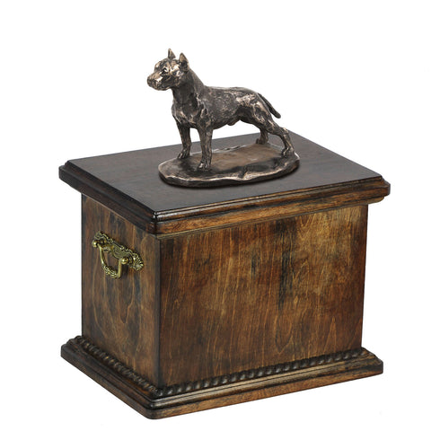 Solid Wood Casket  American Staffordshire Terrier cropped  Memorial Urn for Dog's ashes,with Dog statue.(2) - unique.urns_caskets