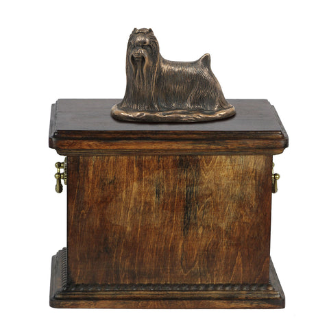 Solid Wood Casket Yorkshire Terrier Memorial Urn for Dog's ashes,with Dog statue.(54) - unique.urns_caskets