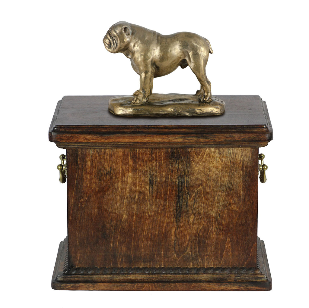 Solid Wood Casket English Bulldog  Memorial Urn for Dog's ashes,with Dog statue , Pet urn(66)