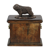 Solid Wood Casket  Polish Lowland Sheepdog Memorial Urn for Dog's ashes,with Dog statue.(42) - unique.urns_caskets