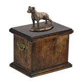 Solid Wood Casket American Staffordshire Terrier uncropped  Memorial Urn for Dog's ashes,with Dog statue.(4) - unique.urns_caskets