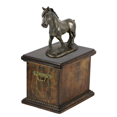 Beautiful solid wood casket with Bronze Statue - Clydesdale Scotland  Horse cremation casket for Horse ashes (13) - unique.urns_caskets