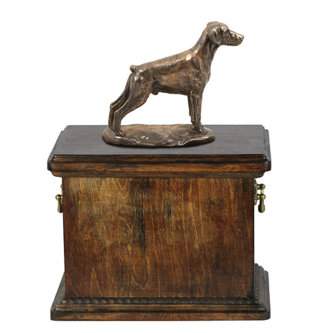 Solid Wood Casket Doberman Uncropped  Urn for Dog's ashes,with Dog statue.(25) - unique.urns_caskets