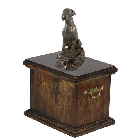 Solid Wood Casket Boxer sitting Memorial Urn for Dog's ashes,with Dog statue (61) - unique.urns_caskets
