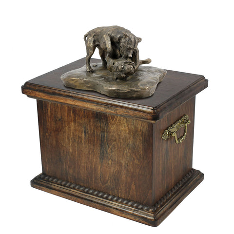 Solid Wood Casket Fighting Pitbull Memorial Urn for Dog's ashes,with Dog statue (65) - unique.urns_caskets