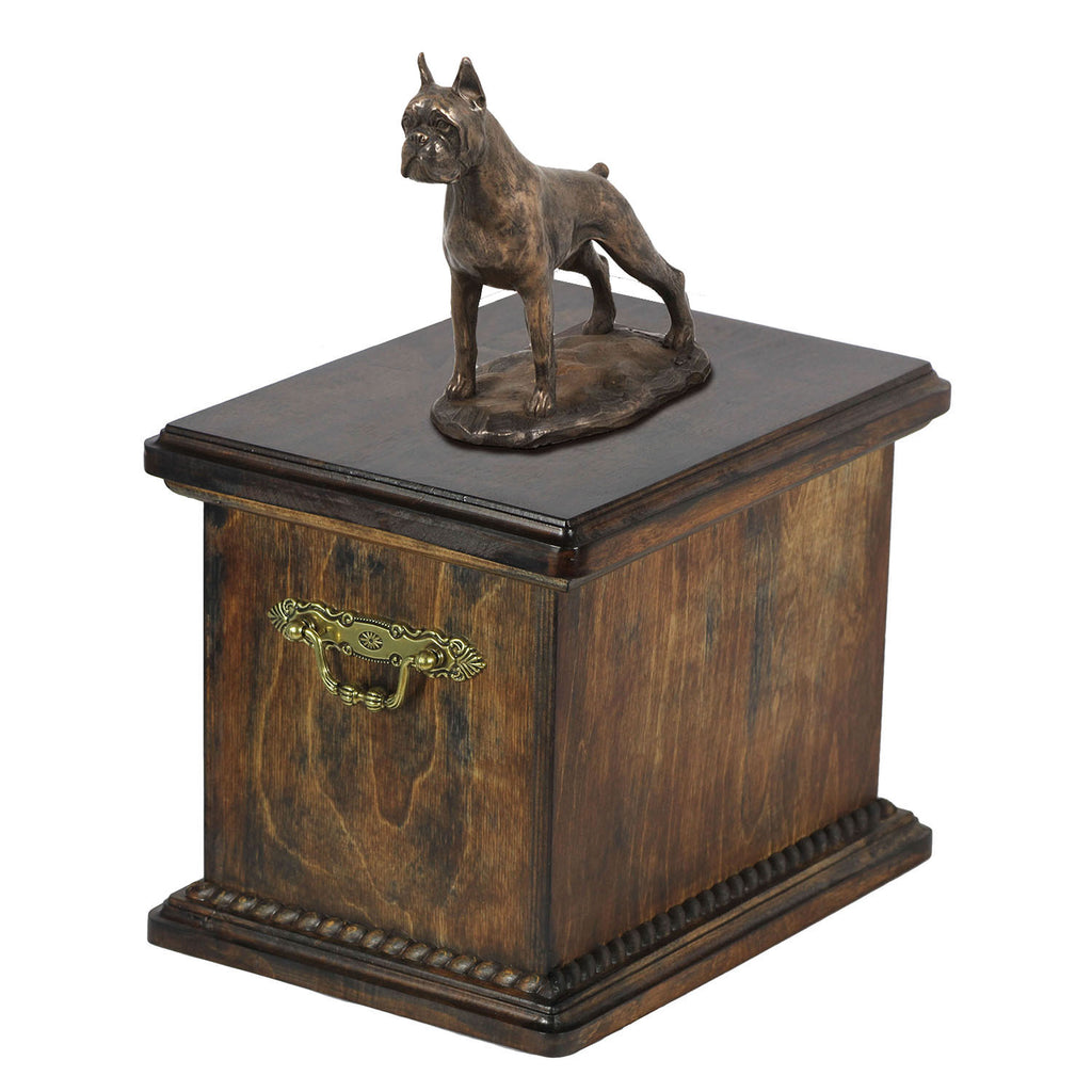 Solid Wood Casket Boxer Cropet Urn for Dog's ashes,with Dog statue.(9) - unique.urns_caskets