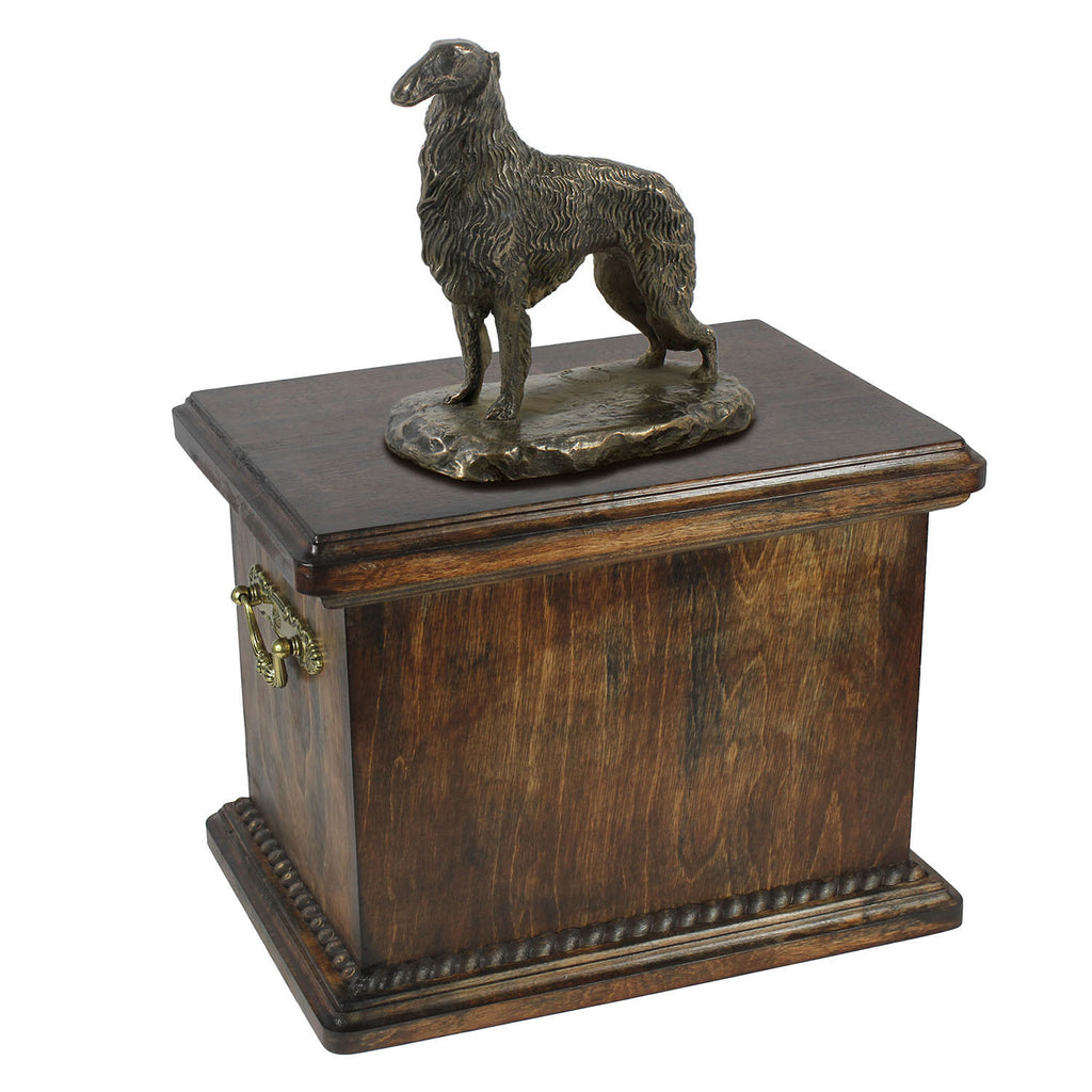 Solid Wood Casket Borzoi Memorial Urn for Dog's ashes,with Dog statue (62) - unique.urns_caskets