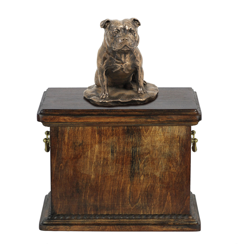 Solid Wood Casket Staffordshire Bull Terrier Memorial Urn for Dog's ashes,with Dog statue.(51) - unique.urns_caskets