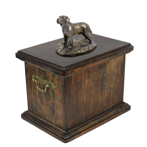Solid Wood Casket  Labrador Retriever Memorial Urn for Dog's ashes,with Dog statue.(35) - unique.urns_caskets