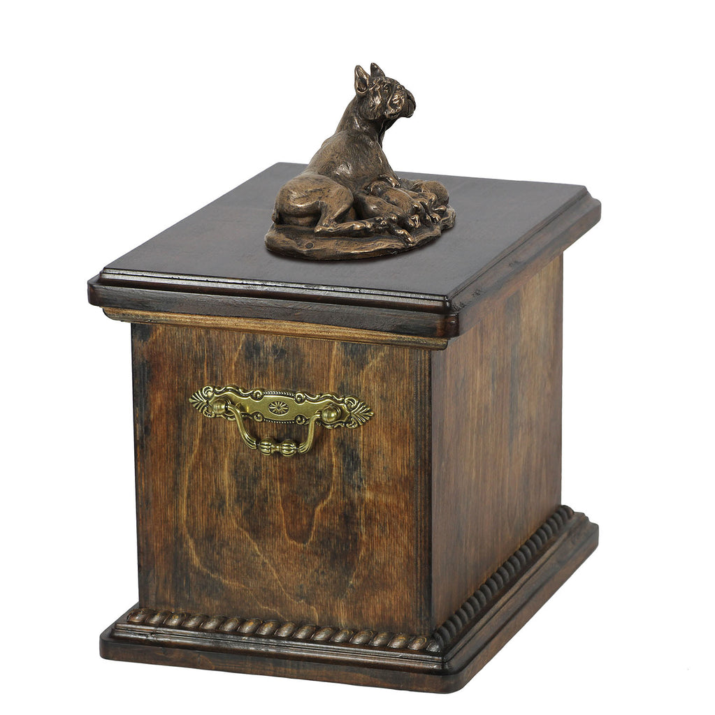 Solid Wood Casket Boxer Mom Urn for Dog's ashes,with Dog statue.(11) - unique.urns_caskets