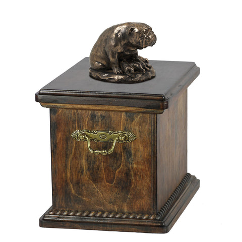 Solid Wood Casket Bulldog Mom Urn for Dog's ashes,with Dog statue.(19) - unique.urns_caskets