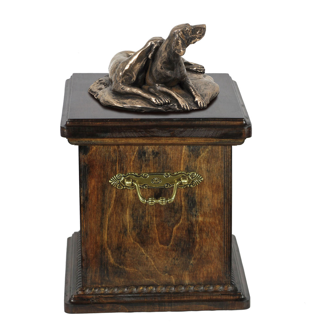 Solid Wood Casket Weimaraner pair Memorial Urn for Dog's ashes,with Dog statue.(52) - unique.urns_caskets