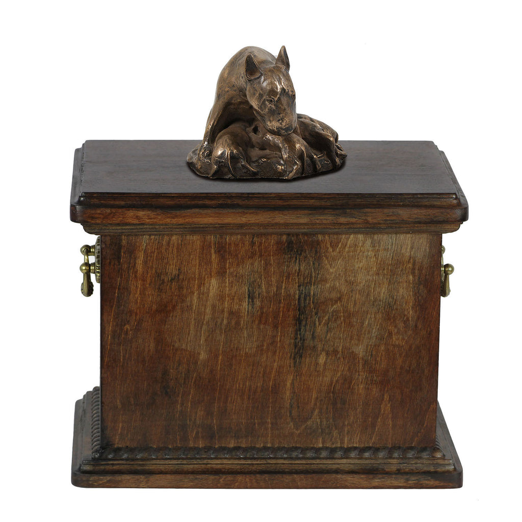 Solid Wood Casket Bull Terrier Mom Urn for Dog's ashes,with Dog statue.(16) - unique.urns_caskets
