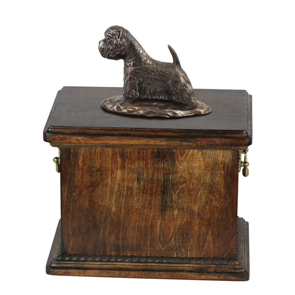 Solid Wood Casket West Highland White Terrier Memorial Urn for Dog's ashes,with Dog statue.(53) - unique.urns_caskets