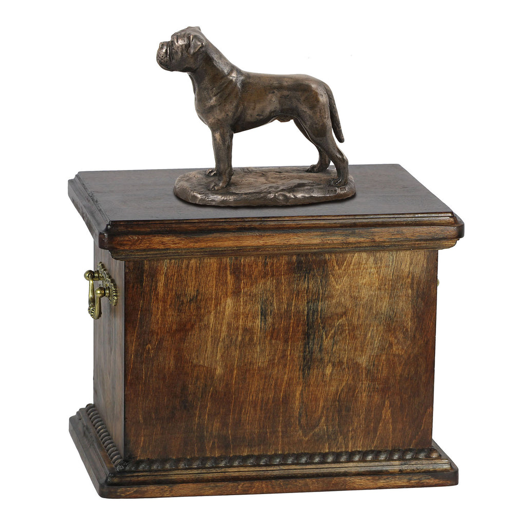 Solid Wood Casket  Bullmastiff Urn for Dog's ashes,with Dog statue.(21) - unique.urns_caskets
