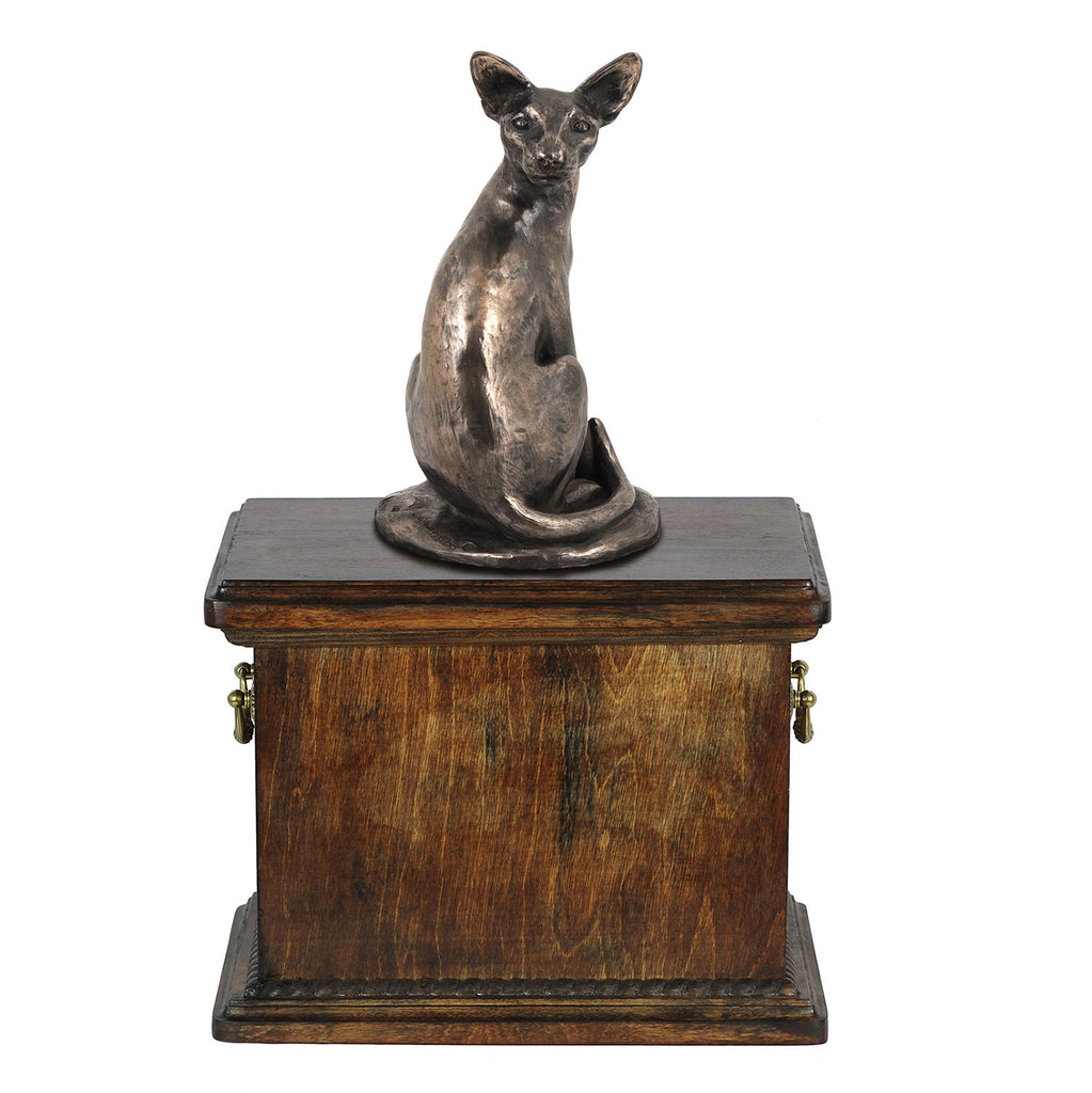 Solid Wood Casket Egyptian cat  Memorial Urn for Cat's ashes,with Cat statue ,Cat urn (59) - unique.urns_caskets