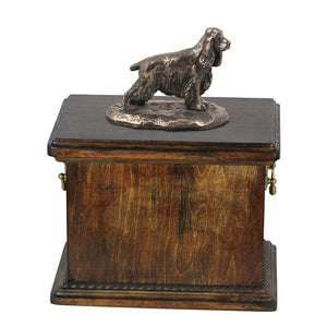 Solid Wood Casket English Springer Spaniel Urn for Dog's ashes,with Dog statue.(67) - unique.urns_caskets