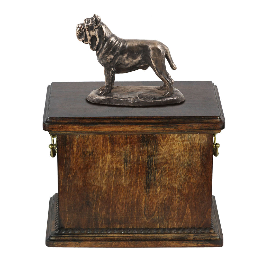 Solid Wood Casket Mastino Neapolitano Memorial Urn for Dog's ashes,with Dog statue.(55) - unique.urns_caskets
