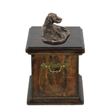 Solid Wood Casket Setter lying Memorial Urn for Dog's ashes,with Dog statue.(49) - unique.urns_caskets