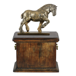 Beautiful solid  wood casket with Bronze Statue - Belgian horse- Percheron horse cremation casket for Horse ashes (2) - unique.urns_caskets
