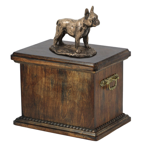 Solid Wood Casket  French Bulldog Urn for Dog's ashes,with Dog statue.(29) - unique.urns_caskets