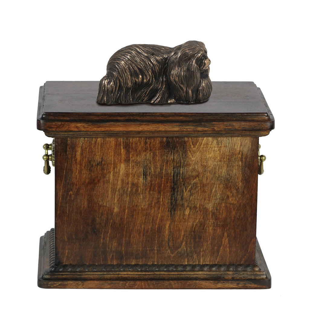 Solid Wood Casket   Pekingese Memorial Urn for Dog's ashes,with Dog statue.(41) - unique.urns_caskets