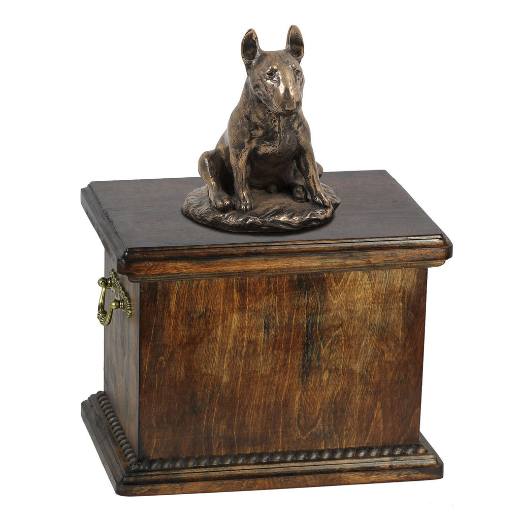 Solid Wood Casket Bull Terrier Sitting Urn for Dog's ashes,with Dog statue.(17) - unique.urns_caskets
