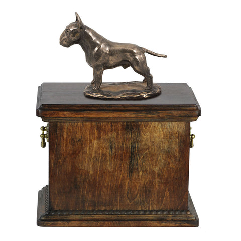 Solid Wood Casket Bull Terrier  Urn for Dog's ashes,with Dog statue.(13) - unique.urns_caskets