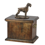 Solid Wood Casket Schnauzer cropped Memorial Urn for Dog's ashes,with Dog statue.(46)