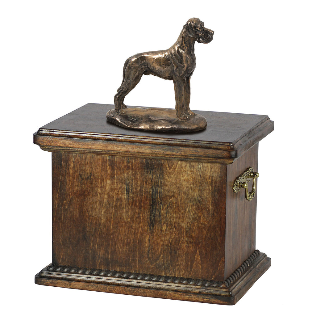 Solid Wood Casket Great Dane uncropped  Memorial Urn for Dog's ashes,with Dog statue , Pet urn (56)