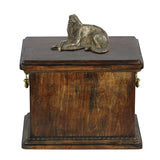 Solid Wood Casket Borzoi Lying  Urn for Dog's ashes,with Dog statue.(9) - unique.urns_caskets