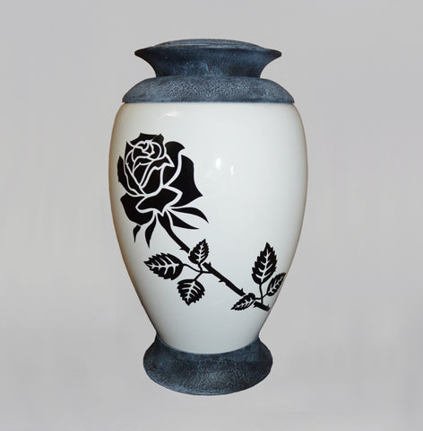 Exclusive Glass Cremation Urn -Rose - White Funeral Urn For Ashes- Custom Engraved  Urn (Art4 Rose)
